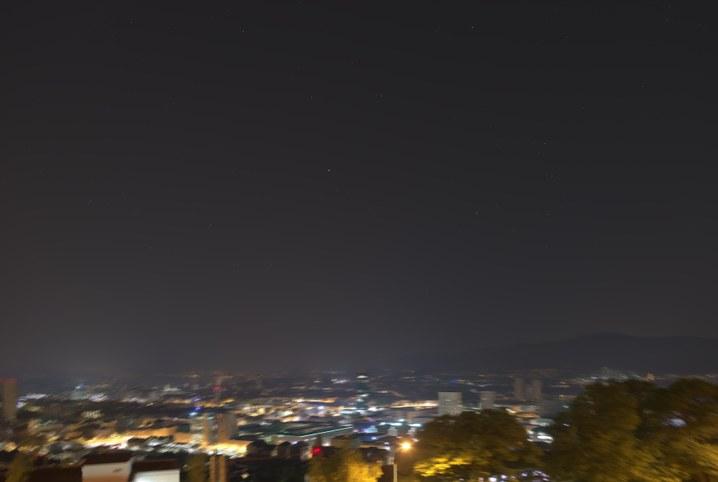 Sharp night sky with blurred ground