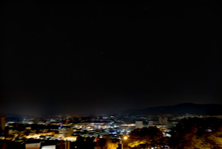 Night sky with ligh pollution removed